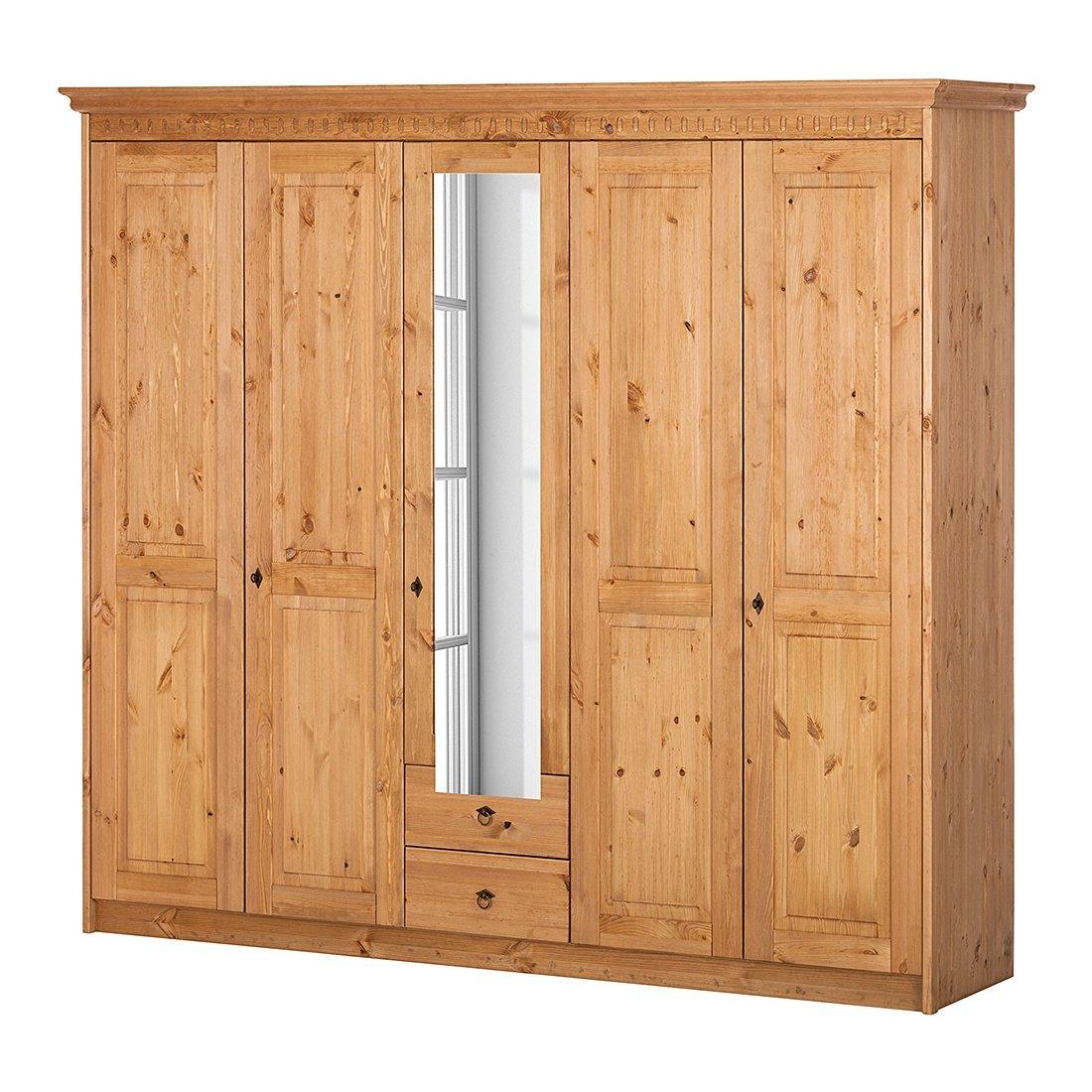 Forestdream 80300135 Francesco Pine massiv antik Kleiderschrank, 5-teilig mit 1 Spiegeltür