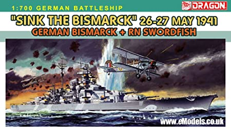 Dragon 7125 Sink the Bismark 1:700 Plastic Kit Maquette