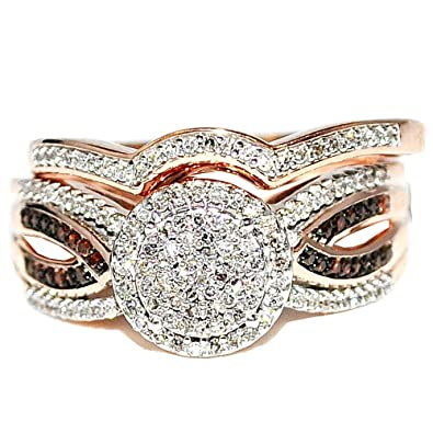 Midwest Jewellery Women's Rose Gold Cognac Diamond Halo Bridal Wedding Rings Set 10K 0.4Ctw 10Mm Wide( 0.4Cttw)