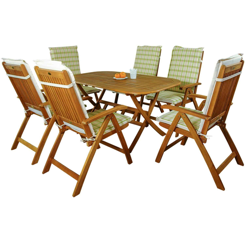 indoba® IND-70064-BASE7 + IND-70412-AUHL - Serie Bangor - Gartenmöbel Set 13-teilig aus Holz FSC zertifiziert - 6 klappbare Gartenstühle + klappbarer Gartentisch + 6 Comfort Auflagen Karo Grün