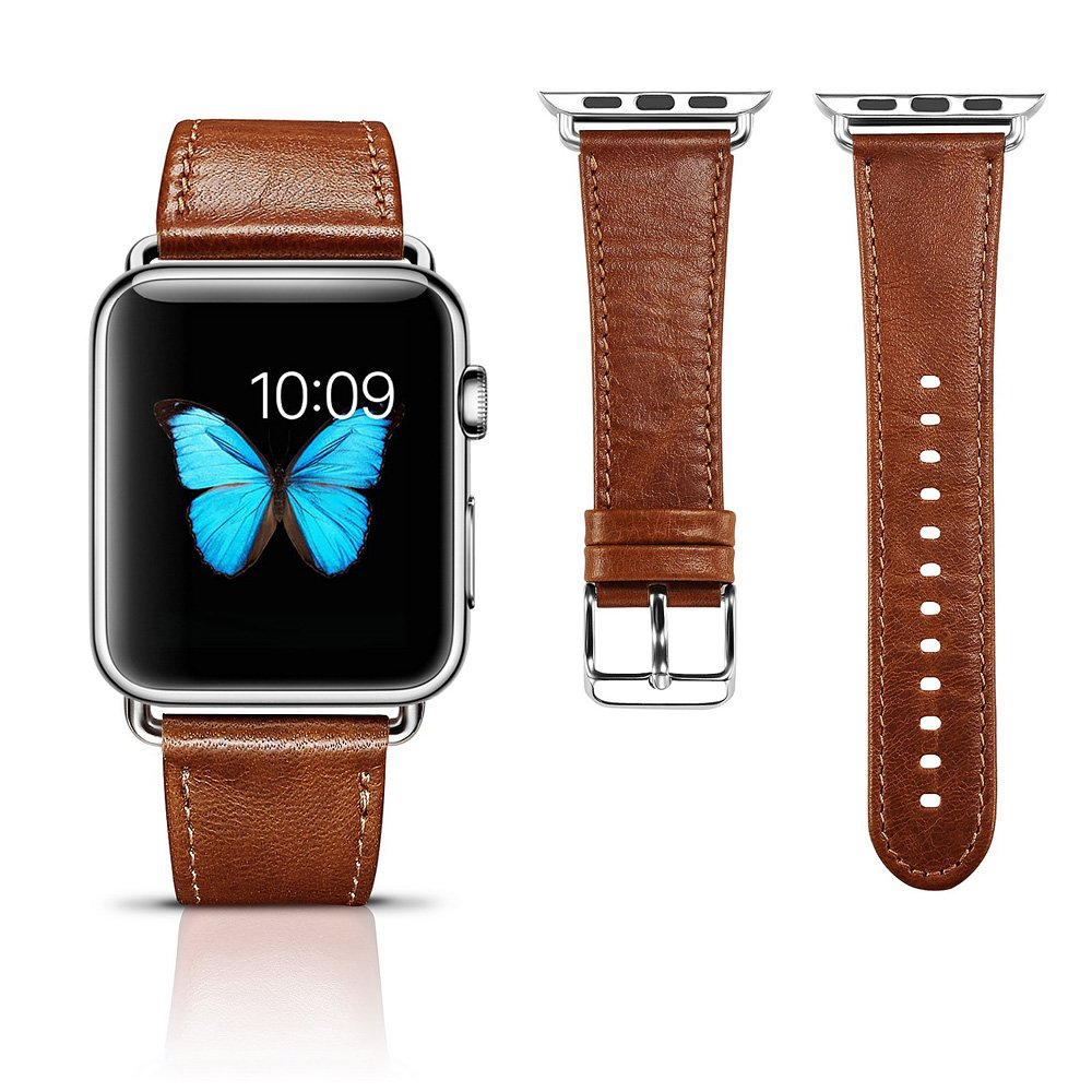 Apple Watch Leather Band, Icarercase Vintage Series Genuine Leather Watchband Strap Replacement iWatch Wristband Link Bracelet with Secure Metal Clasp Buckle for Apple Watch (Brown for 42mm) 0