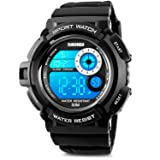 Aposon Men's Digital Sports Watch, Military Army Electronic Watches Running 50M 5 ATM Waterproof Sports LED Wristwatch Water Resistant with Stopwatch -White (Color: white, Tamaño: Men's Standard)