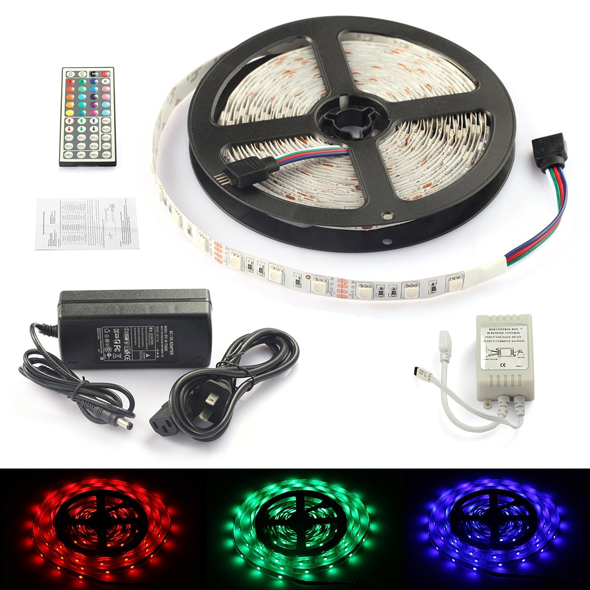 Rxment® Led Strip Lighting Complete Kit 5M 5050 RGB 300leds Full Kit with 44 Keys IR Remote +Control Box+5A Power Supply for Car Home Lighting & Kitchen Decorative biginflatabel cask inflatabel beer can with led lighting 3 5m high for oktoberfest festival party model building kits