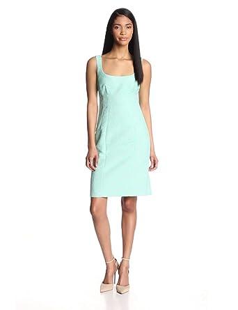 Nanette Lepore Women's Demure Tweed Sleeveless Sheath Dress, Aqua, 2