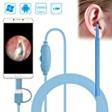 USB Otoscope, VTOSEN Ear Cleaning Endoscope 1.3MP Digital Ear Scope Inspection Camera with 6 LED Lights, Earwax Cleaning Tool for Mirco USB & USB-C Android Phone Tablet, Windows & Macbook OS Computer (Color: blue)