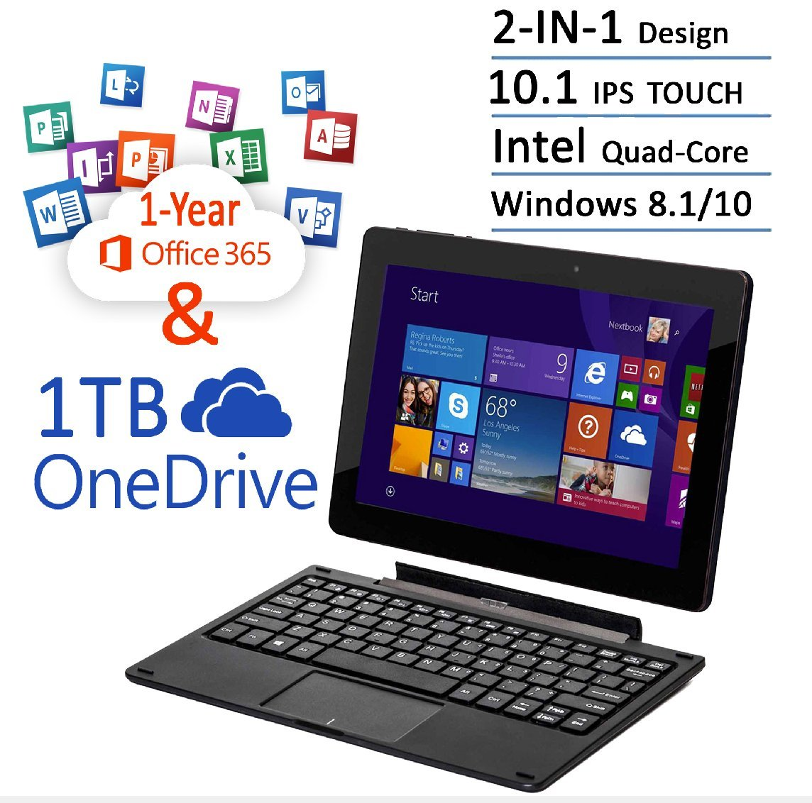 Newest Nextbook Flexx 10.1 Touchscreen Convertible Tablet Laptop With Keyboard 1 Year Office 365 1TB OneDrive (Intel Quad-Core Z3735F Processor, 2G RAM, 32G Memory, IPS Display, Windows 8.1/10)