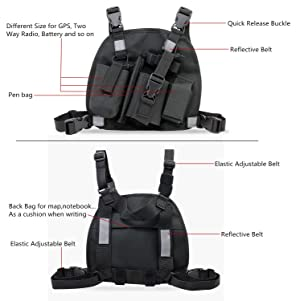 abcGoodefg Universal Radio Chest Harness Pack Front Pocket Pouch Bag Holster EMS Vest Rig with Reflective Stripe for Two Way Radio Walkie Talkie Black (Rescue Essentials) (Color: Reflective Black)
