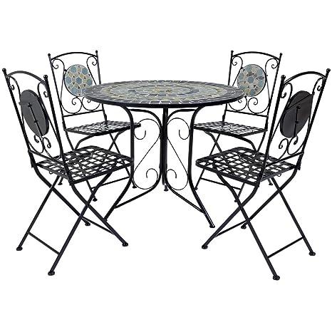 Bentley Garden - Table et 4 chaises pliables pour le jardin - mosaïque bleue