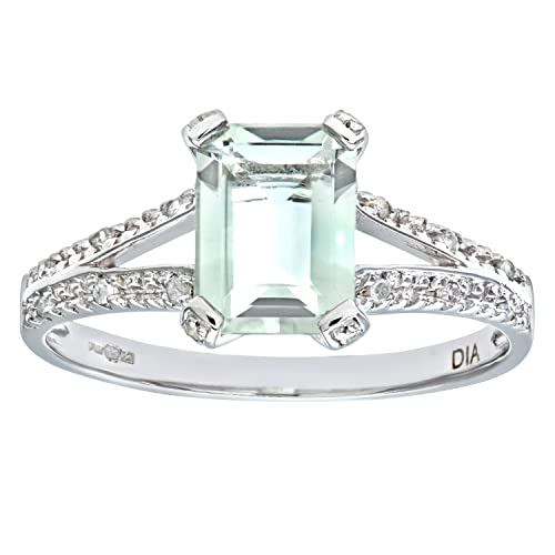 Naava 9ct White Gold Emerald Cut Green Amethyst Ring With Diamond Shoulders