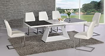 Italia EXTENDING Black and White Dining Table - Contemporary Design - Stylish - Interior Decor - Dine in Style - Italian Dining