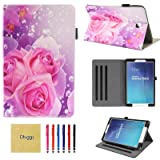 Samsung Galaxy Tab E 9.6 Case, SM-T560 Case, Dluggs Slim Fit Lightweight Protective PU Leather Folio Stand Case with Cards Slots for Galaxy Tab E/Tab E Nook 9.6 Inch Tablet, Pink Flower (Color: 06 Pink Flower)