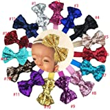 CellElection 15pcs Boutique Bling Sparkly Sequin Big Large Hair Bows Soft Elastic Hair Band Accessories Headwrap Top BowKnot Headbands for Baby Girls Teens