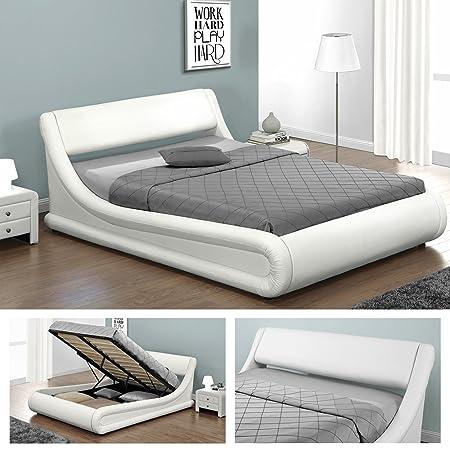 KANSAS Doppelbett Polsterbett mit Gasdruckfeder Bettkasten Bett Lattenrost Kunstleder (160 x 200cm, Weiss)
