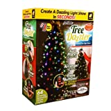 Star Shower Tree Dazzler LED Christmas Lights by BulbHead, Indoor Color Changing LED Light Show for the Xmas Tree (16 Light Patterns) (Color: Green)
