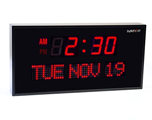 Ivation Big Oversized Digital Blue LED Calendar Clock with Day and Date - Shelf or Wall Mount (16 Inch - Red)