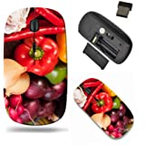 Liili Wireless Mouse Travel 2.4G Wireless Mice with USB Receiver, Click with 1000 DPI for notebook, pc, laptop, computer, mac book ID: 21628422 colorful vegetables and cutting board on wooden table (Color: 263)