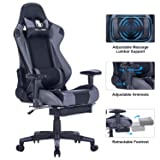 KILLABEE Big and Tall 350lb Massage Memory Foam Gaming Chair - Adjustable Massage Lumbar Cushion, Retractable Footrest and 2D Arms High Back Ergonomic Racing Computer Desk Leather Office Chair (Grey) (Color: Grey)