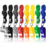 FineGood 8 Packs Coaches Referee Whistles with Lanyards, 7 Colorful Plastic and 1 Stainless Steel Metal Whistles for Football Sports Lifeguards Survival Emergency Training - Multi-Color (Color: 8 x Plastic)
