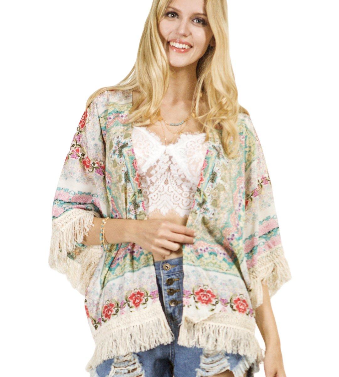 Persun Women Vintage Floral Fringe Kimono Cardigan Jacket Blouse 0