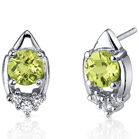 Peora Majestic Charm 1.50 Carats Peridot Round Cut Cubic Zirconia Earrings in Sterling Silver Rhodium Finish