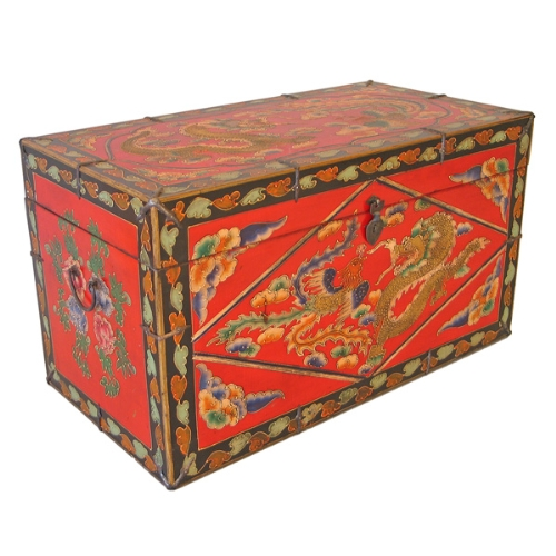 EXP Antique Style Hand Painted Coffee Table Storage Trunk/Chest Mythic  Motifs (frc1031)