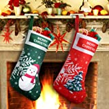 EasyAcc Christmas Stockings Personalized Large Size Classic Fireplace Stockings Adorable Felt Materials Stocks for Child Treats Toys Family Holiday Xmas Cheer Party New Year Decor Gifts - Xmas Tree (Color: Green and Red)
