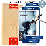 [2-Pack] Huawei P8 Lite 2017 Screen Protector, PULEN [Scratch Resistant] [Ultra Clear] [Easy-Install] 9H Tempered Glass 0.33mm 2.5D Glass Screen Protector for Huawei P8 Lite 2017 (Blue)