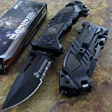 Mtech Us Marines Combat Folding Rescue Knife Stainless Steel Blade Black Handle