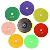 INSMA 4 inch Diamond Polishing Pads 8 Pcs Set for Marble Granite Concrete Countertop Glass Stone Floor Renew, 1 Backer + 7 Pads, Mix 50 to 3000 Grit
