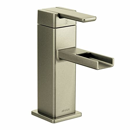 Moen S6705BN 90-Degree One-Handle Low Arc Bathroom Faucet, Brushed Nickel