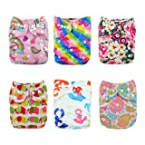 ALVABABY Reuseable Washable Pocket 6 Cloth Diapers + 12 Inserts (Girl Color)6DM18 (Color: Girl Color3, Tamaño: All in one)