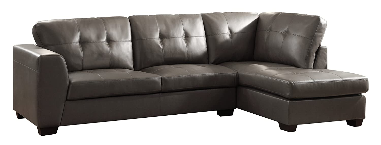 Homelegance 9688GY* Channel-Tufted 2-Piece Sectional Sofa Set - Grey Bonded Leather