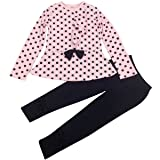 Jastore Baby Girl Cute 2pcs Set Children Clothes Suit Top and Pants Fall Clothes (5T, Pink Dot) (Color: Pink Dot, Tamaño: 5T)