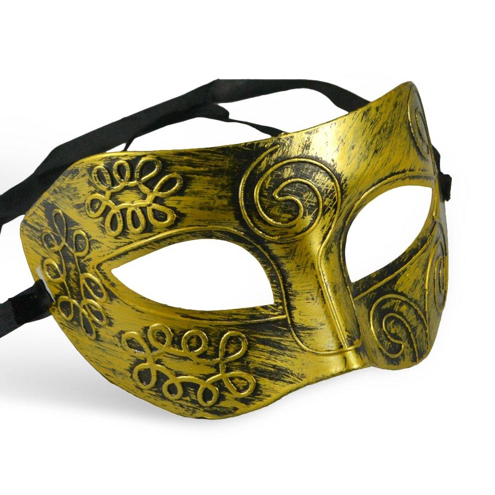 Thiroom Men's Retro Greco-Roman Gladiator Masquerade Masks Vintage Golden Mask Carnival Mask Mens Halloween Costume Party Mask(golden) 0