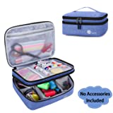 Luxja Double-Layer Sewing Supplies Organizer, Sewing Accessories Organizer for Needles, Thread, Scissors, Measuring Tape and Other Sewing Tools (Bag Only), Dark Blue (Color: Dark Blue, Tamaño: Large)