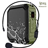 Portable Voice Amplifier with Wired Headset Microphone 18W 4400mAh Rechargeable Waistband Amplifier IPX5 Waterproof Bluetooth Mini Pa Speaker for Teachers, Trainers, Karaoke or Outdoors (Color: Wired Microphone)
