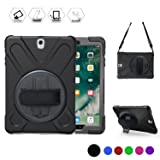 Galaxy Tab S3 9.7 Case (SM-T820), Heavy Duty Shockproof Rugged Protective Silicon Armor Cover With Hand Grip, Shoulder Strap, Rotating Stand For Kids Girls Samsung SM-T820 T825 9.7 inch Tablet(Black)