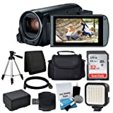 Canon VIXIA HF R800 Camcorder (Black) + 32GB Memory Card + Digital Camera/Video Case + Extra Battery BP-727 + Quality Tripod + Digital Compact LED Video Light + USB Card Reader - Full Accessory Bundle
