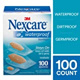 Nexcare Waterproof Clear Bandages, Seals Out Water, Dirt and Germs, Easy to Tear, Assorted Sizes, 100 Count