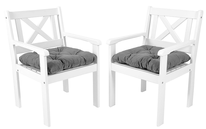 GARDENho.me 2er Set Massivholz Sessel Gartenstuhl Stuhl EVJE inkl. Kissen Nordisches Design Weiß kaufen