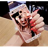Huawei P10 Lite Glitter Case,Huawei P10 Lite Case,Leeook Creative Mirror Effect Diamond Soft Silicone Case Cover with Bear Ring Kickstand for Huawei P10 Lite-Rose Gold