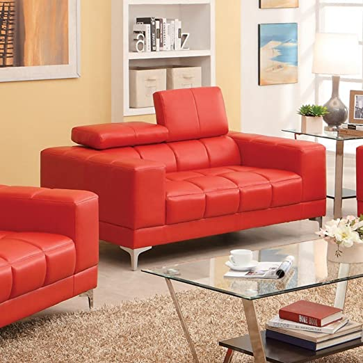 Furniture of America Alex Bonded Leather Match Loveseat
