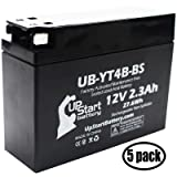 5-Pack Replacement 2015 Yamaha SR400 400CC Factory Activated, Maintenance Free, Motorcycle Battery - 12V, 2.3Ah, UB-YT4B-BS