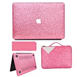 MacBook Air 13 Inch Case 2018 Release A1932, Anban Glitter Bling Smooth Protective Case & Glitter Laptop Sleeve & Keyboard Cover Compatible for MacBook Air 13 Inch with Touch ID, Rose Red Cover Set (Color: Rose Red Cover Set)