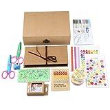 Gotideal DIY Scrapbook Album Craft Paper Wedding and Anniversary Photo Album Family Scrapbook with Photo Album Storage Box , DIY Accessories Kit and Scrapbooking Supplies (Pure) (Color: Kit)