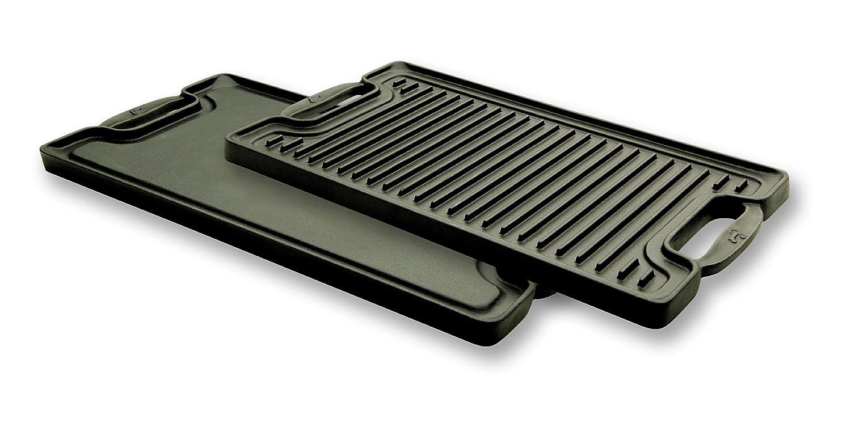 emeril by all clad e6019764 cast iron 2 burner reversible grill griddle black ebay. Black Bedroom Furniture Sets. Home Design Ideas