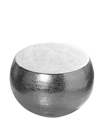 Unico Khasar Tavolino Caffè Rotondo, Alluminio, Shiny