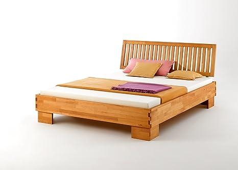 Sistema cama, cama doble, cama individual Castello, haya maciza barnizada, con cabecero Variante IV, superficie 100x 200cm