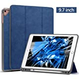 New iPad 9.7 2018 6th Generation Case/iPad Pro 9.7 Case with Apple Pencil Holder, Wonzir Slim Lightweight Stand Protective Cover with Auto Wake/Sleep for Apple iPad 9.7 Inch Tablet (Blue) (Color: Blue 9.7, Tamaño: ipad 9.7)