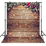 Allenjoy 5X7FT Snowflake Gold Glitter Christmas Wood Wall Photography Backdrop Xmas Rustic Barn Vintage Wooden Floor Background for Kids Portrait Photo Studio Booth Photobooth Photographer Props (Color: Christmas Wood, Tamaño: Thin Vinyl 5X7FT)